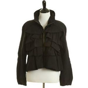 Luii Black Ruffled Front Lite Puffy Zip Jacket